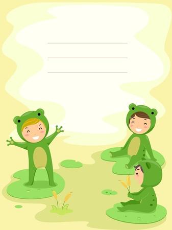 Achtergrond Illustratie van Kids Gekleed als Kikkers