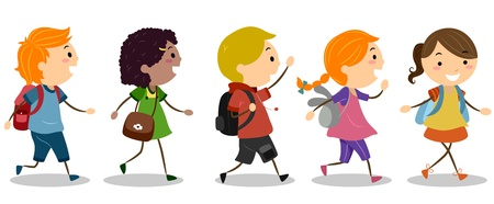 cartoon school girl: Illustration of Kids Going to School