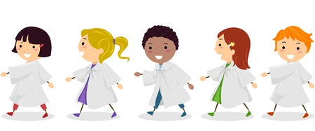 Illustration of Kids Graduating From School illustration