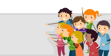 Banner Illustration Featuring Cheerful Kids illustration