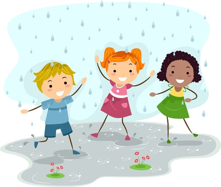 rainy season: Illustration of Kids Playing in the Rain