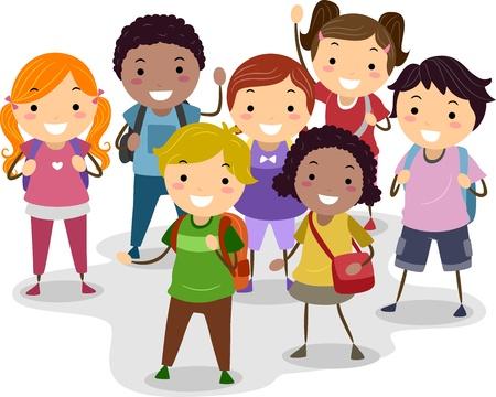 cartoon school girl: Ilustraci�n de un grupo de escolares