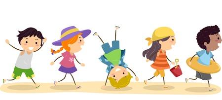 行き: ビーチに行く子供たちのイラスト