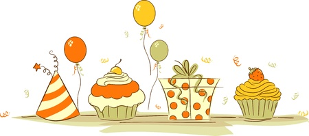 Illustration of Cupcakes and Other Birthday Related Elements Stock Illustration - 13131947