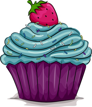 Illustration of a Cupcake with a Strawberry on Top