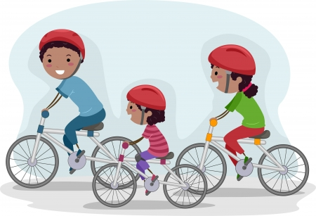 Illustration of a Family Biking Together Stock Photo