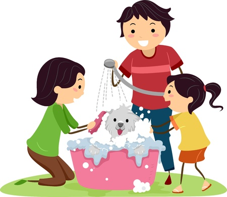 Illustration of a Family Giving Their Dog a Bath illustration