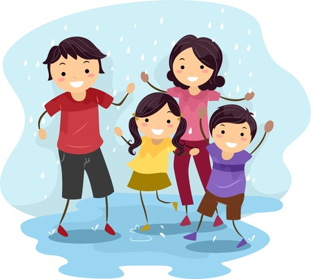 rain cartoon: Illustration of a Family Playing in the Rain