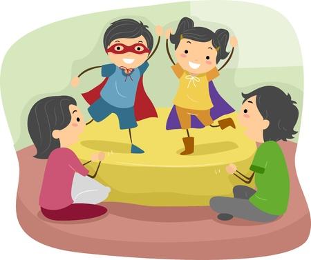 niños actuando: Ilustración de niños haciendo un juego de roles frente a sus padres Foto de archivo