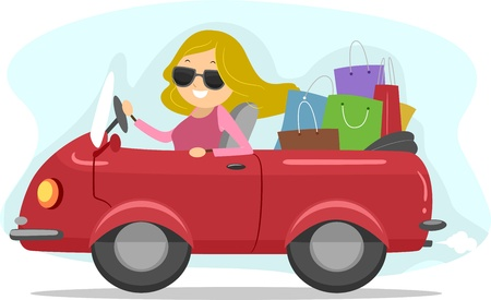 Illustration of a Girl Driving a Car Full of Shopping Bags Banco de Imagens