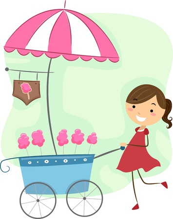 algodon de azucar: Ilustración de una chica empujando un carrito de algodón de azúcar