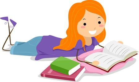 girl reading book: Illustration of a Girl Reading a Book