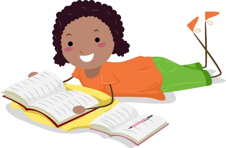 taking notes: Illustration of a Girl Taking Down Notes