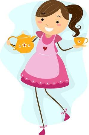 Illustration of a Girl Making Preparations for a Tea Party illustration