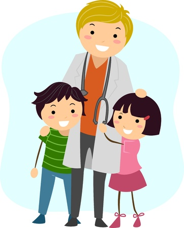 Illustration of Children Clinging on to a Pediatrician illustration