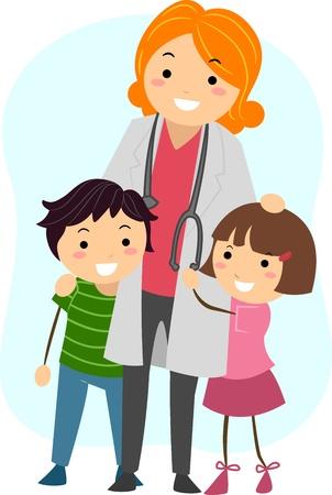 medico pediatra: Ilustraci�n de los ni�os se aferraban a un pediatra