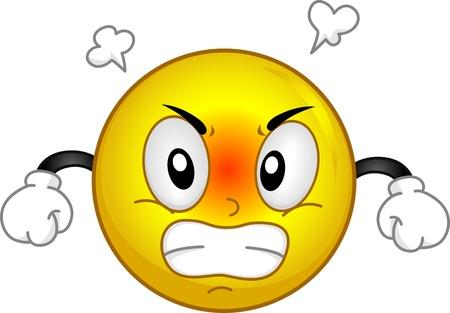 Illustration eines Smiley Rauchende in Anger