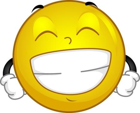 Illustration of a Smiley Flashing a Big Grin illustration