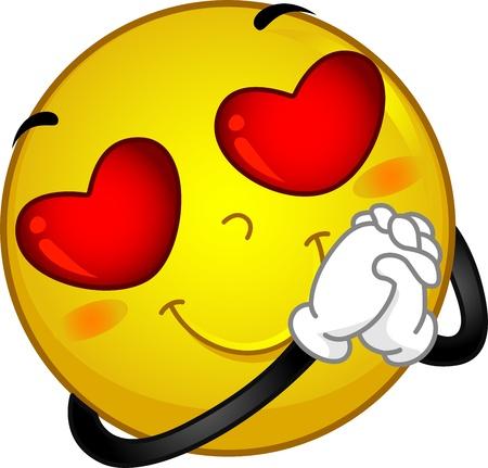Illustration of a Smiley in Love illustration
