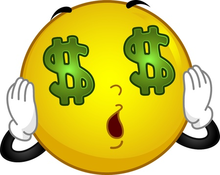 crazed: Illustration of a Money-crazed Smiley Seeing Dollars Stock Photo