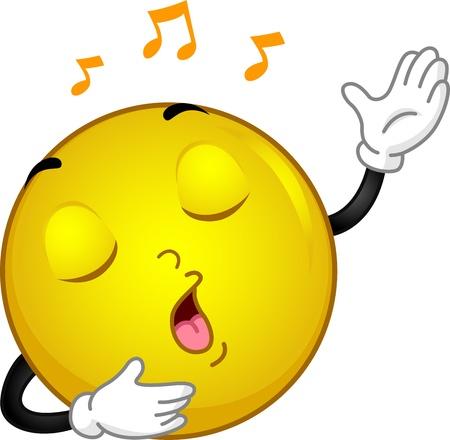 serenading: Illustration of a Singing Smiley