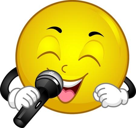 serenata: Ilustraci�n de un Smiley Canto Foto de archivo