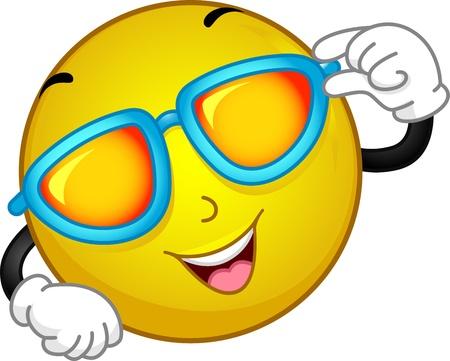 sunbathing: Illustration of a Smiley Wearing Sunglasses Stock Photo