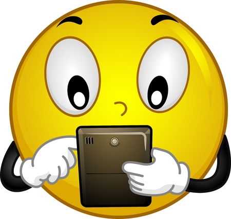 techie: Illustration of a Smiley Using a Tablet PC