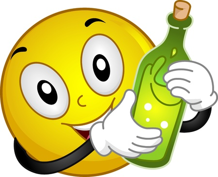 cheers: Illustration of a Smiley Holding a Wine Bottle Stock Photo