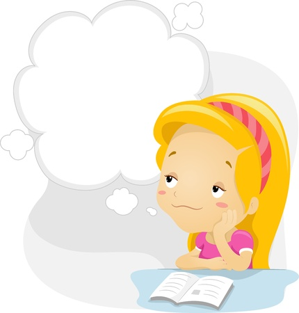daydream: Illustration of a Kid Daydreaming Stock Photo