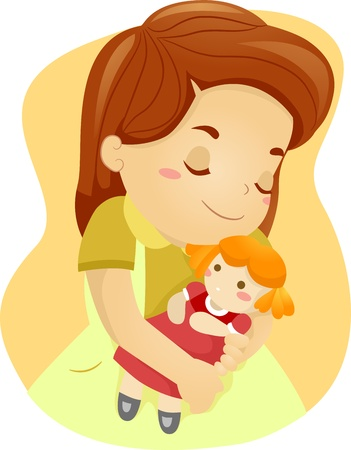 rag: Illustration of a Kid Hugging Her Doll Stock Photo