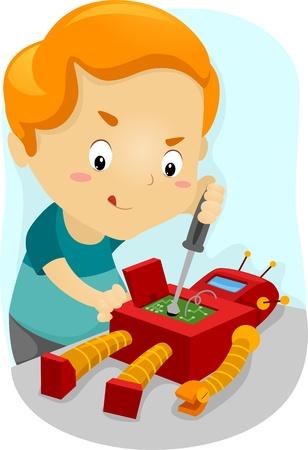 Illustration of a Kid Fixing His Robot illustration