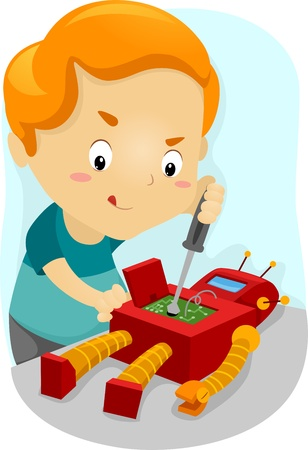 robot toy: Illustration of a Kid Fixing His Robot Stock Photo
