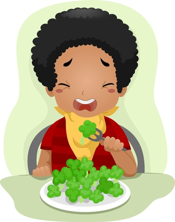 Illustration of a Kid Eating Vegetables Against His Will illustration