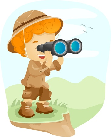 ocular: Illustration of a Kid Using a Pair of Binoculars