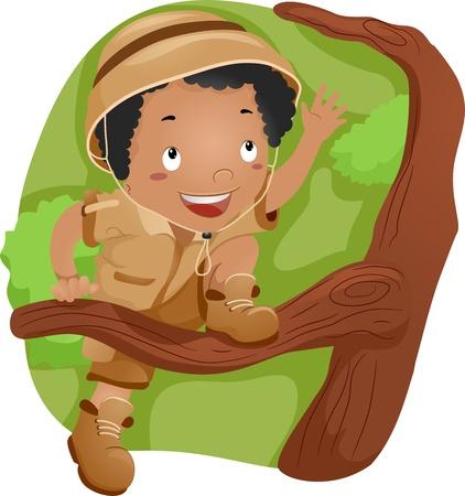 niño trepando: Ilustración de un chico subir a un árbol