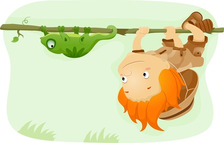 pfadfinderin: Illustration eines Kinder imitieren einen Leguan