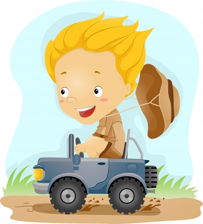 Illustration of a Kid Driving a Small Jeep illustration