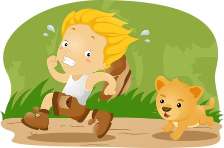 scared: Illustration of a Kid Kid Being Chased by a Lion Cub