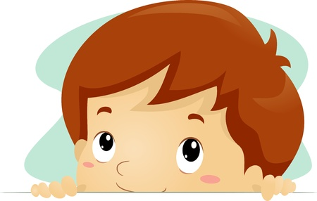 curious: Illustration of a Kid Taking a Peek