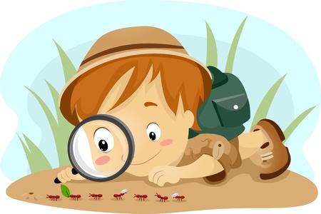 観察: アリを観察すること子供のイラスト