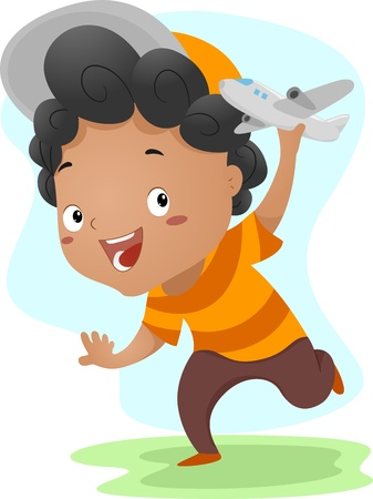 Illustration of a Kid Playing with a Toy Plane illustration