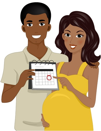 Illustration of Expecting Parents Pointing to Calendar illustration