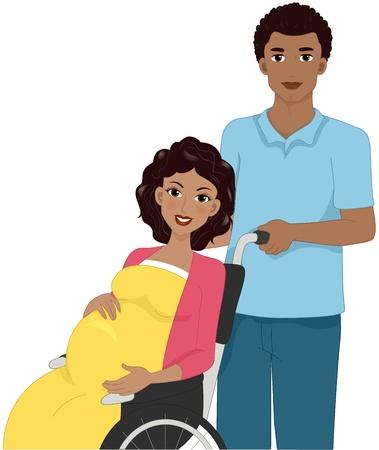 mother to be: Illustrazione di una donna incinta in una sedia a rotelle