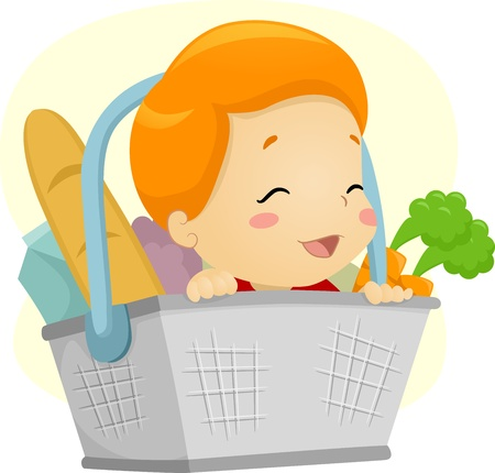 Illustration of a Baby in a Basket illustration