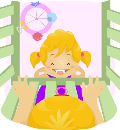 babysitting: Illustration of a Kid Smiling in Front of a Baby Stock Photo