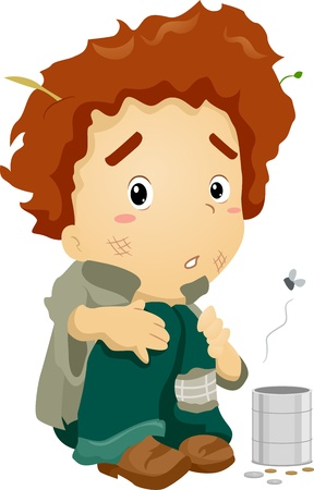 Illustration of a Young Beggar Wearing Dirty Clothes Stock Illustration - 13339880
