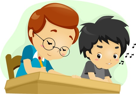 honestidad: Ilustración de un chico Echando una mirada a su compañero de asiento de Respuesta Foto de archivo
