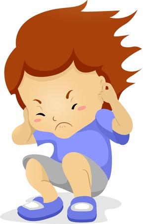 molesto: Ilustración de un chico tapándose las orejas