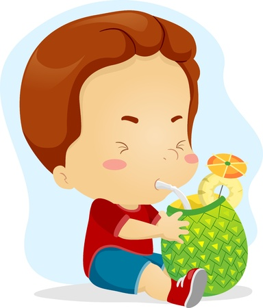 pineapple juice: Illustration of a Kid Sipping Pineapple Juice